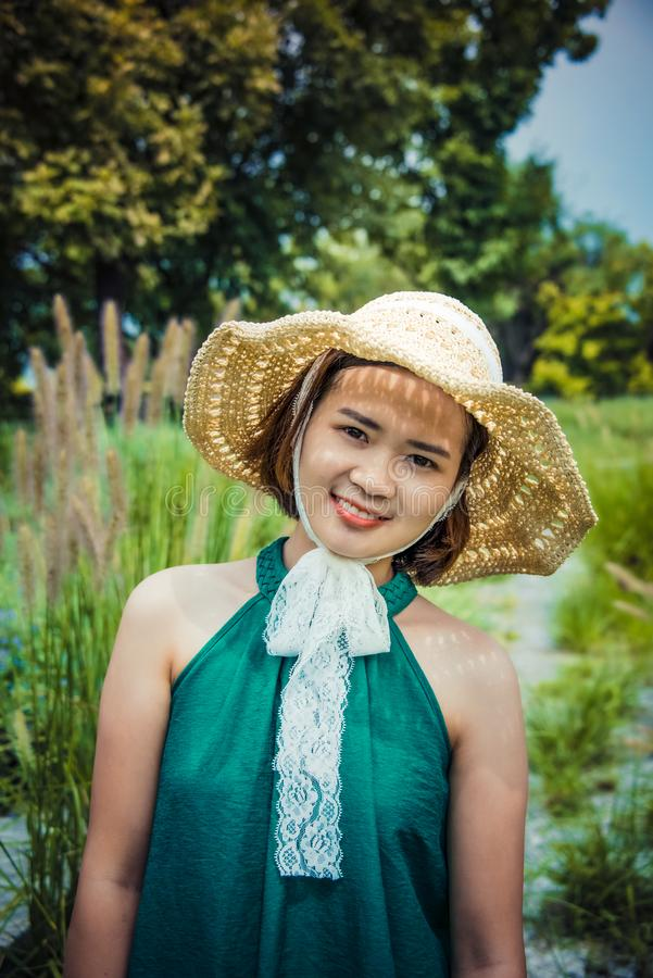 Girls in straw hats stock photos