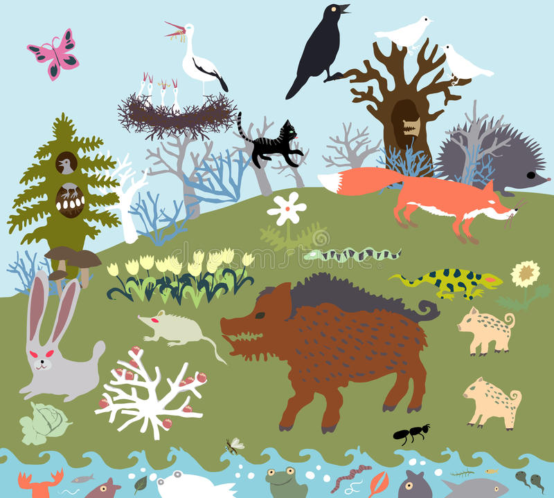 Summer glade in the forest with wild beasts and a river. Primitive Graphic Style Vector. Summer glade in the forest with wild beasts vector illustration
