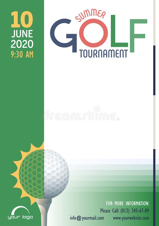 Summer Golf Tournament poster template. Place for your text message. vector illustration