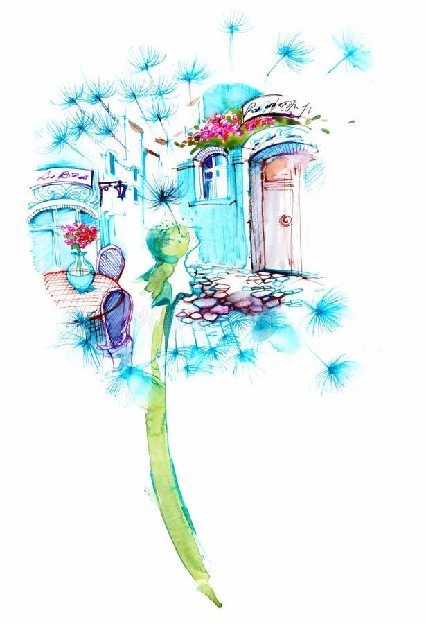 Summer. Greek street in silhouette dandelion stock illustration