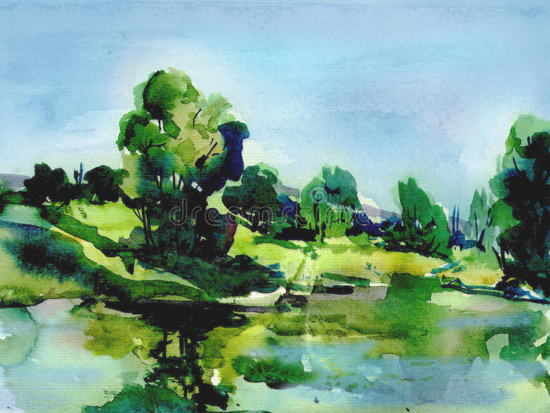 Summer Green landscape Illustration. Summer landscape, reflection of the sky and trees in the lake, it is painting with watercolors, sketch from nature. Colorful royalty free illustration