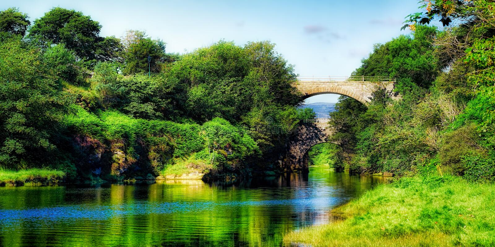 Summer reflections in the River Brora stock images