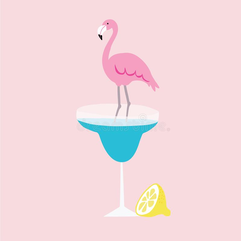 Summer greeting card, invitation. Hand drawn lemon fruit and pink flamingo bird standing in margarita cocktail drink stock illustration