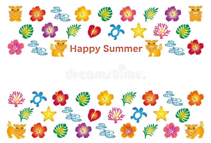 Summer greeting card with japanese bingata icons stock vector download summer greeting card with japanese bingata icons stock vector illustration of reef m4hsunfo Choice Image