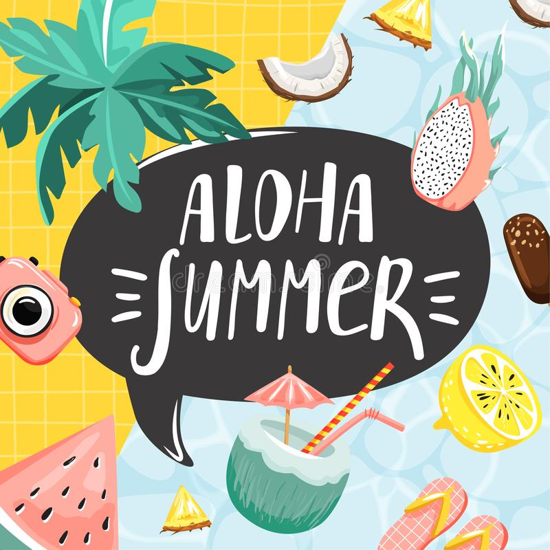 Summer greeting card. Stylish typography slogan design `Aloha summer` sign. Cocktail, fruits, camera, ice cream and palm leaves. Vector royalty free illustration