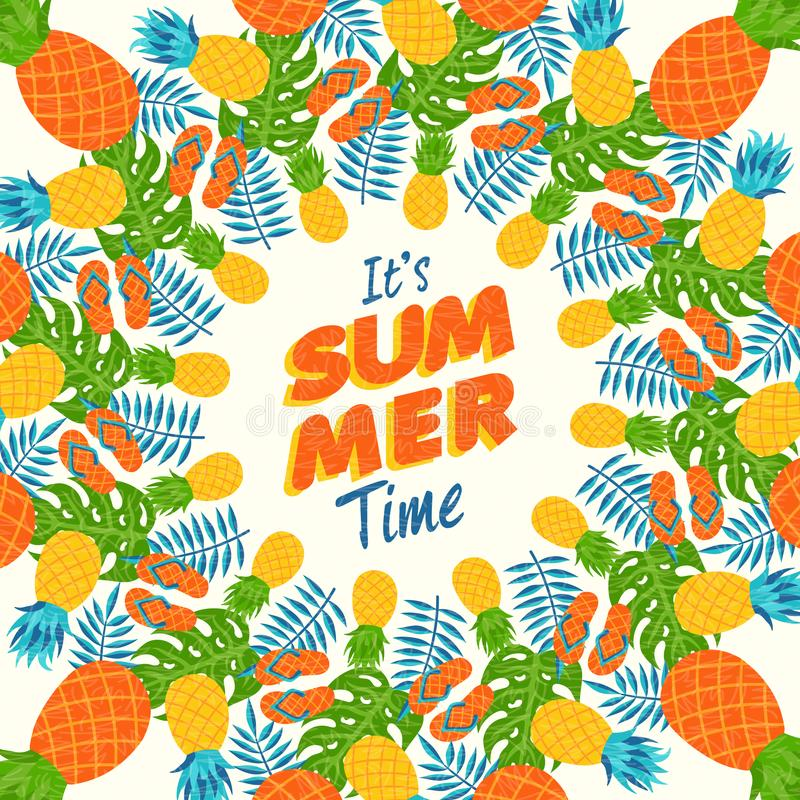 Wonderful Download Summer Greeting Card Of Tropical Pineapple Stock Illustration    Illustration Of Holiday, Cartoon: