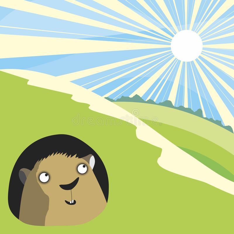 Summer. Groundhog and summer. Vector format