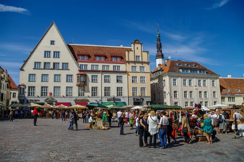 Summer hand craft market on town Hall Square (Raekoja Plats) in stock image