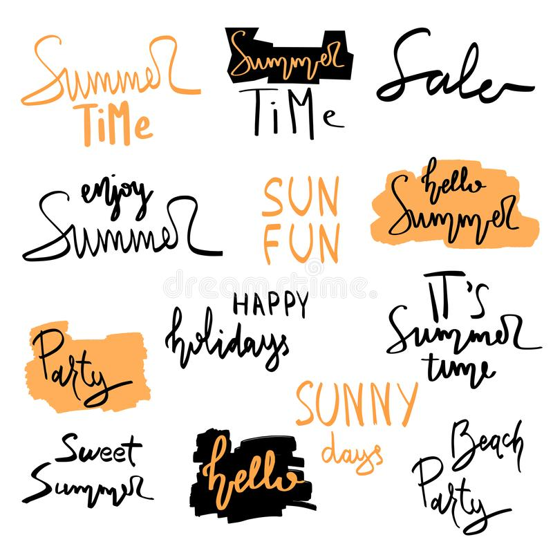 Summer hand drawn brush letterings. Summer typography - summer time, sun fun, happy holidays, party, sale, beach party, hello. Summer vector illustration