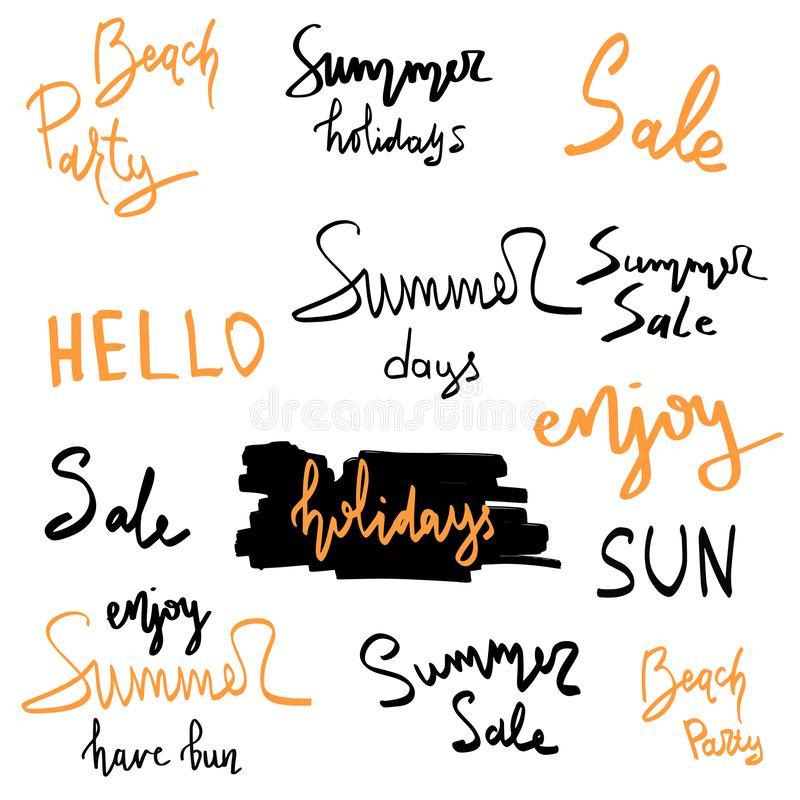 Summer hand drawn brush letterings. Summer typography - summer time, sun fun, happy holidays, party, sale, beach party, hello. Summer royalty free stock photo