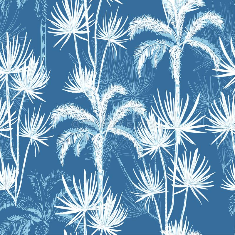 Summer hand drawn doodle line sketch plam and coconut trees ,island design fot fashion,fabric, and all prints. On sky blue background color vector illustration
