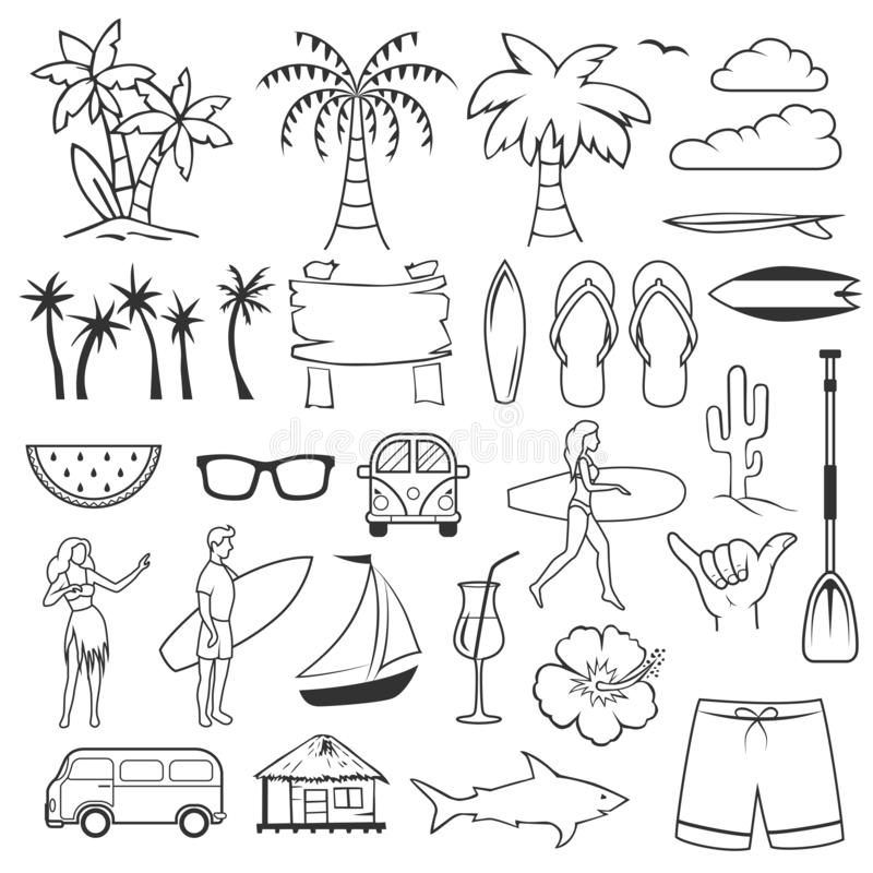 Summer hand drawn symbols and objects. Set of summer time beach elements vector illustration