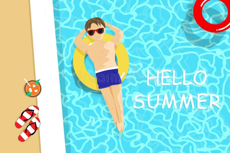 Summer, handsome man have a sunbath top view, swimming pool, vacation seasonal holiday, relax time background vector illustration vector illustration