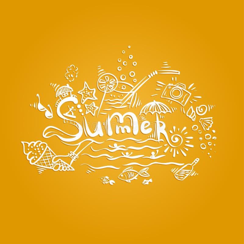 Summer - handwritten lettering. vector illustration