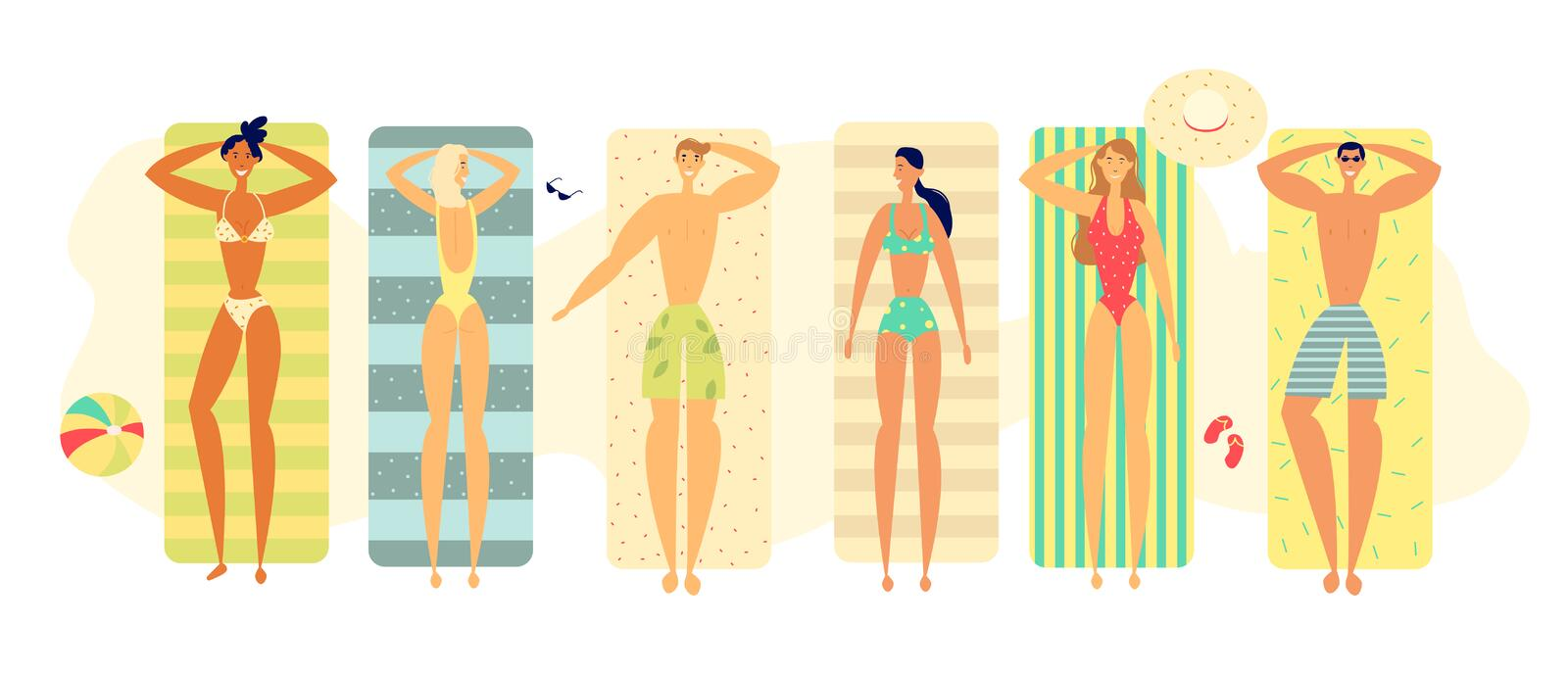 Summer Happy Relax Lifestyle Concept with People Characters Sunbathing on the Beach Carpets ilustracji