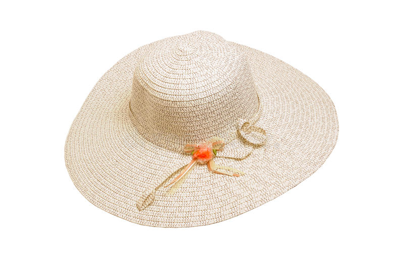 Summer hat. Summer female hat on isolated background royalty free stock images