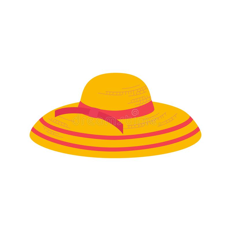 Summer hat icon. Women Summer hat icon. Girl beach sunhat flat cartoon. Lady hat for vacation. Woman straw cap for travel wear. Sun protection wide brim sunblock vector illustration