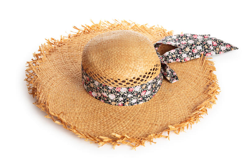 Summer hat. Summer straw hat. Isolated on white background. Focus on top part of the hat royalty free stock photos