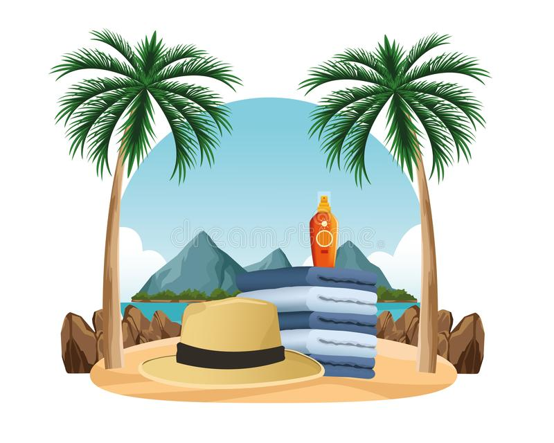 Summer hat and sun bronzer on towels piled. In the beach scenery background ,vector illustration graphic design royalty free illustration
