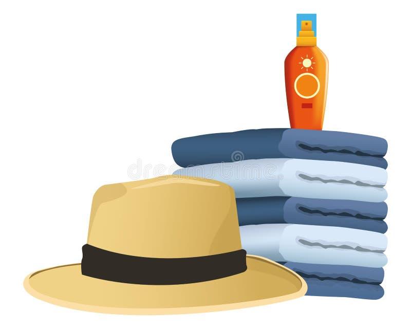 Summer hat and sun bronzer on towels piled. Vector illustration graphic design vector illustration