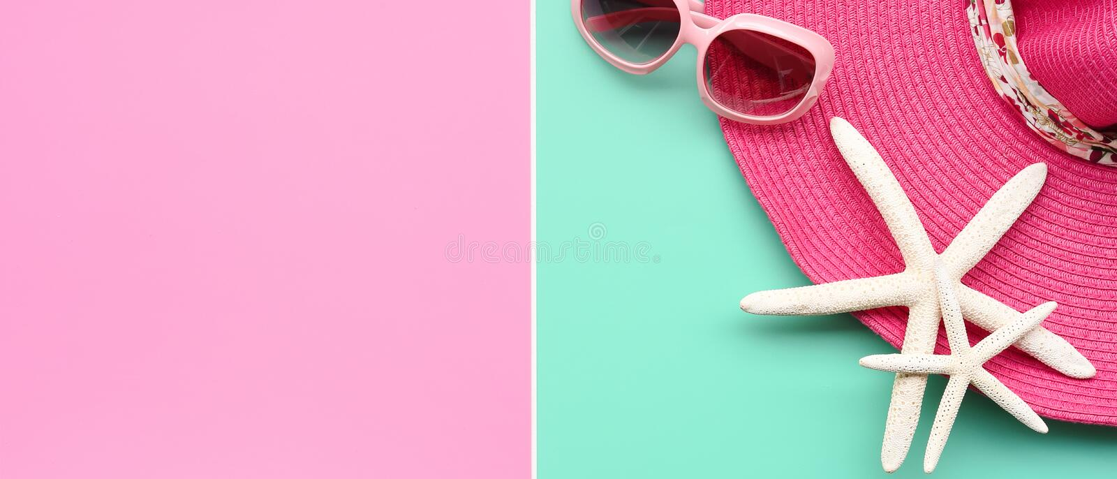 Summer hat and sunglasses stock photography