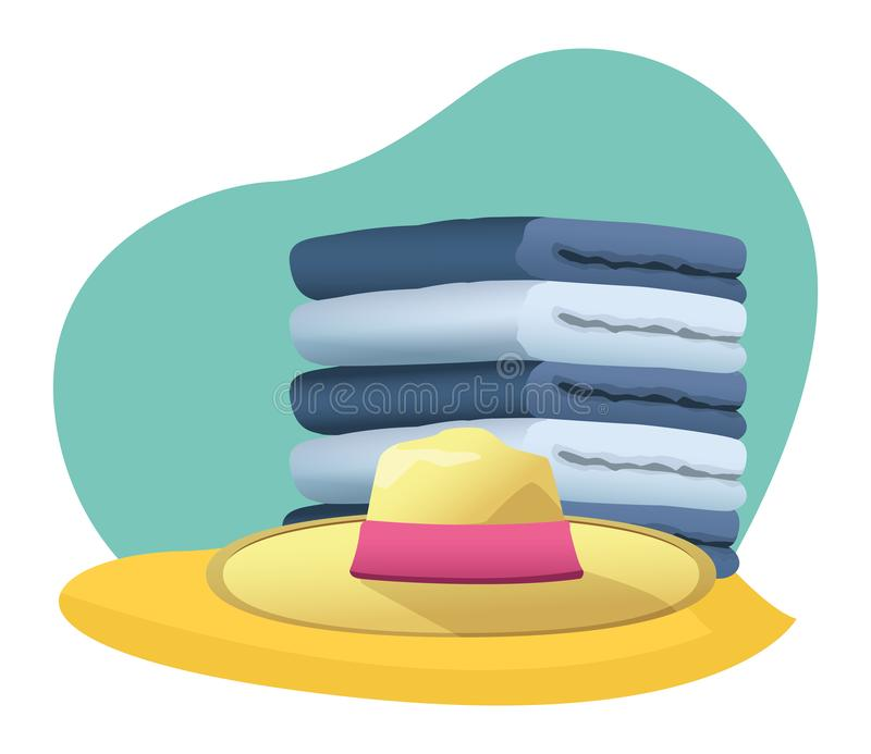 Summer hat and and towels piled up. In the beach scenery background ,vector illustration graphic design stock illustration