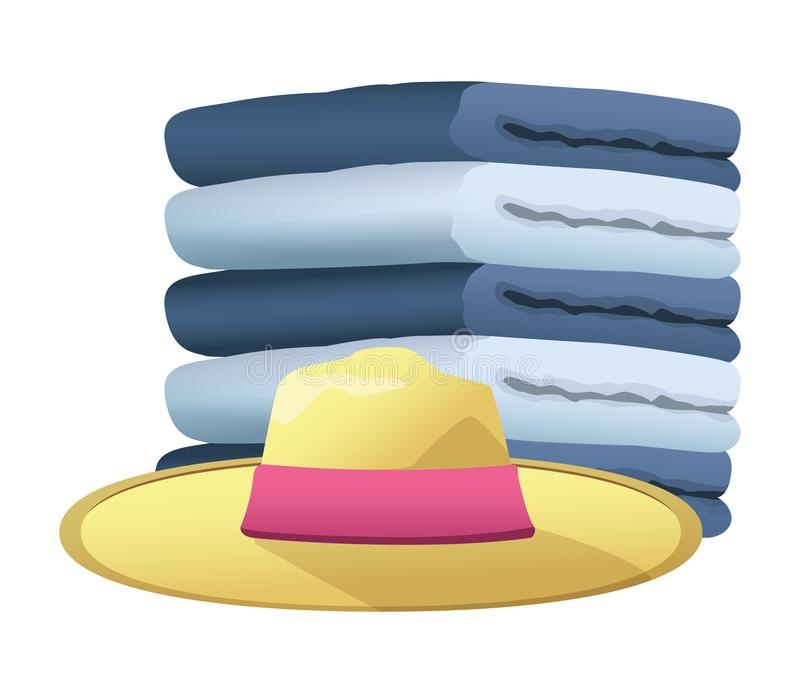 Summer hat and and towels piled up. Vector illustration graphic design royalty free illustration