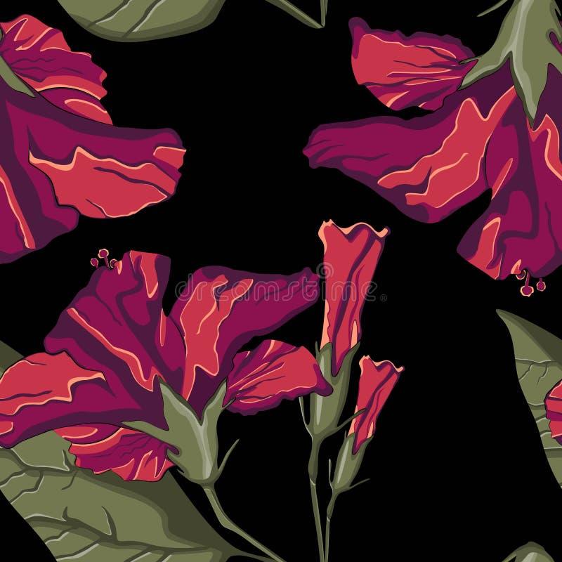 Summer Hawaiian seamless pattern with hibiscus flowers. Exotic botanical wallpaper, Hawaiian style. stock illustration