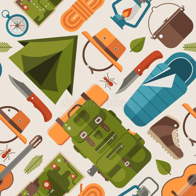 Summer Hiking and Camping Pattern vector illustration
