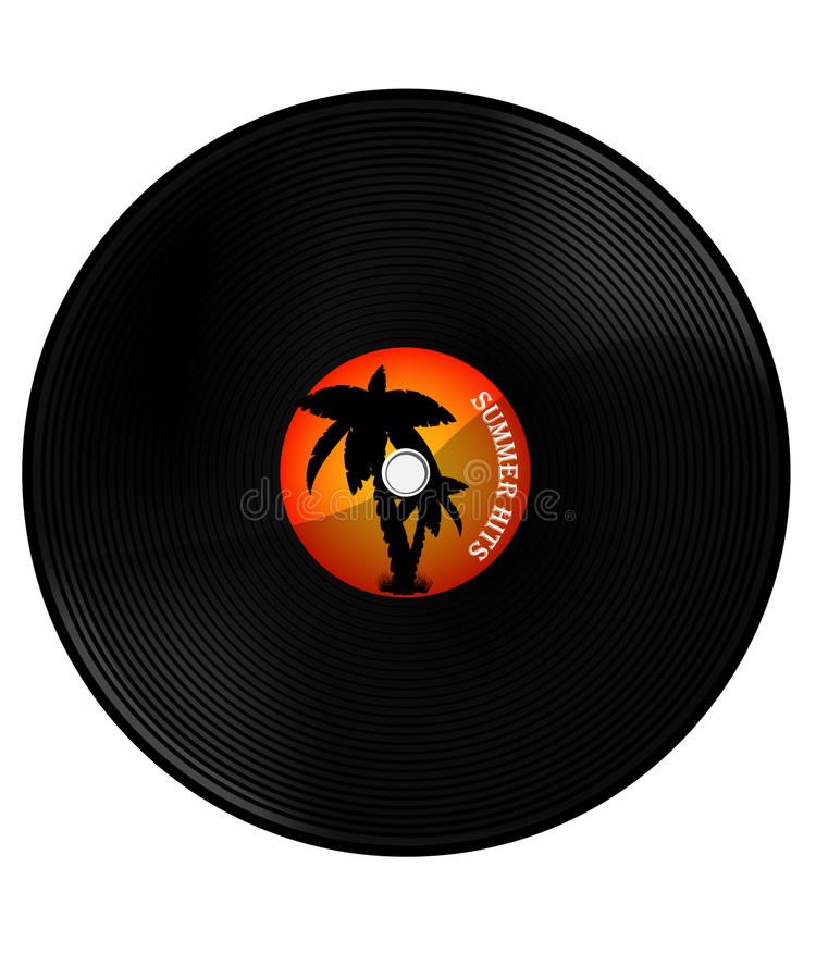 Summer hits. Vintage vinyl record with text summer hits. Orange sunset and palm tree silhouette. Summer music party stock illustration