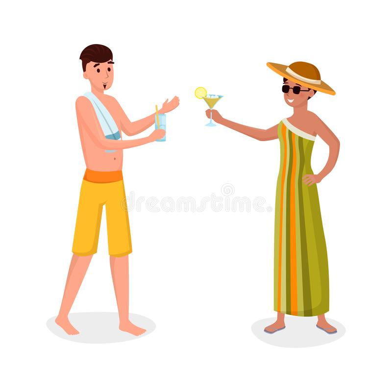Summer holiday activity flat vector illustration. Happy, smiling tourists, friends on beach vacation isolated cartoon royalty free illustration