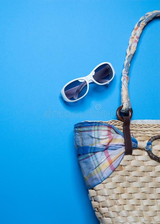 Summer holiday background, Beach accessories on blue background, Summer holiday Banner, Vacation and travel items. Top view royalty free stock photos