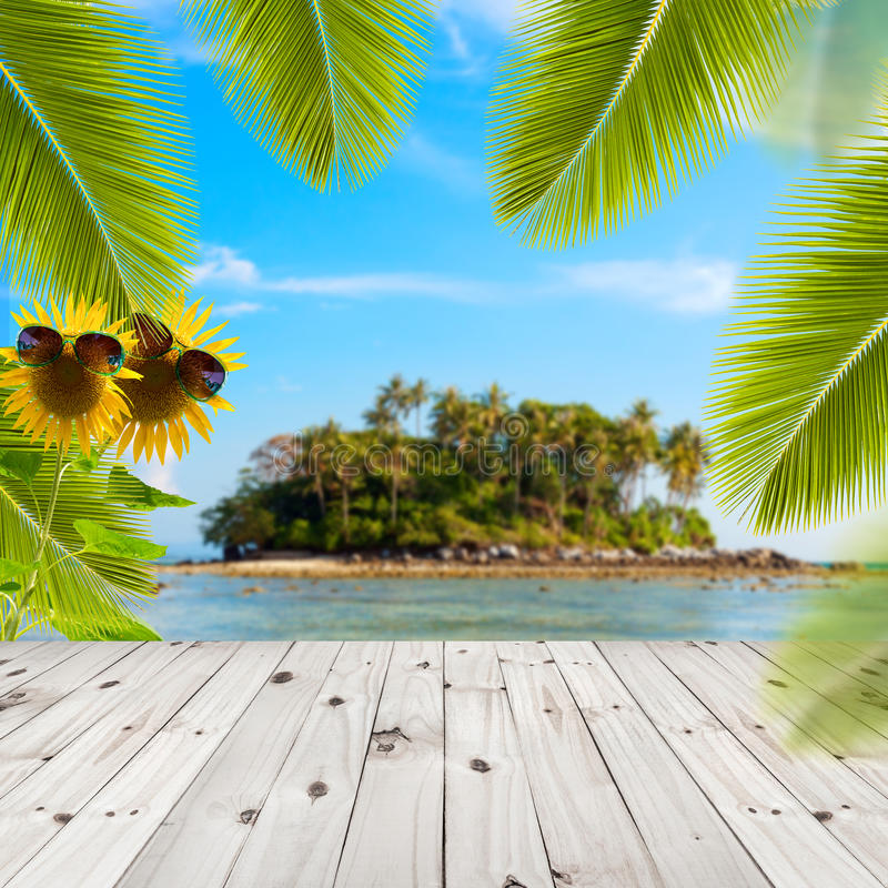 Wood Floor On Beach Sea And Blue Sky For Background Stock: Palm Tree Leaves And Sand On Wood Background