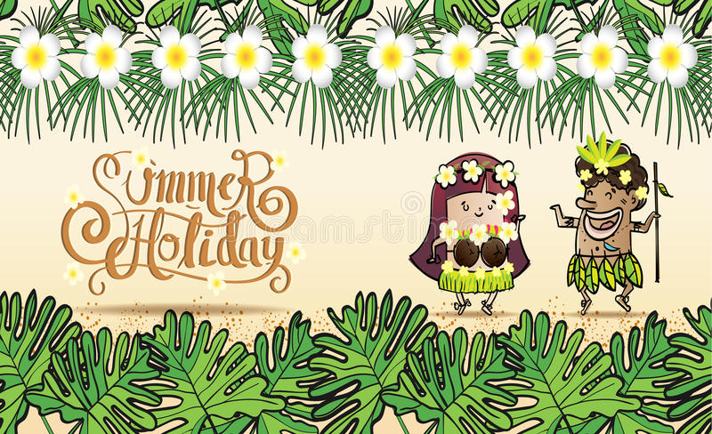 Summer holiday background Pattern Seamless. Summer background Pattern Seamless hand draw style, Young men and women of the island Dancing on the beach royalty free illustration
