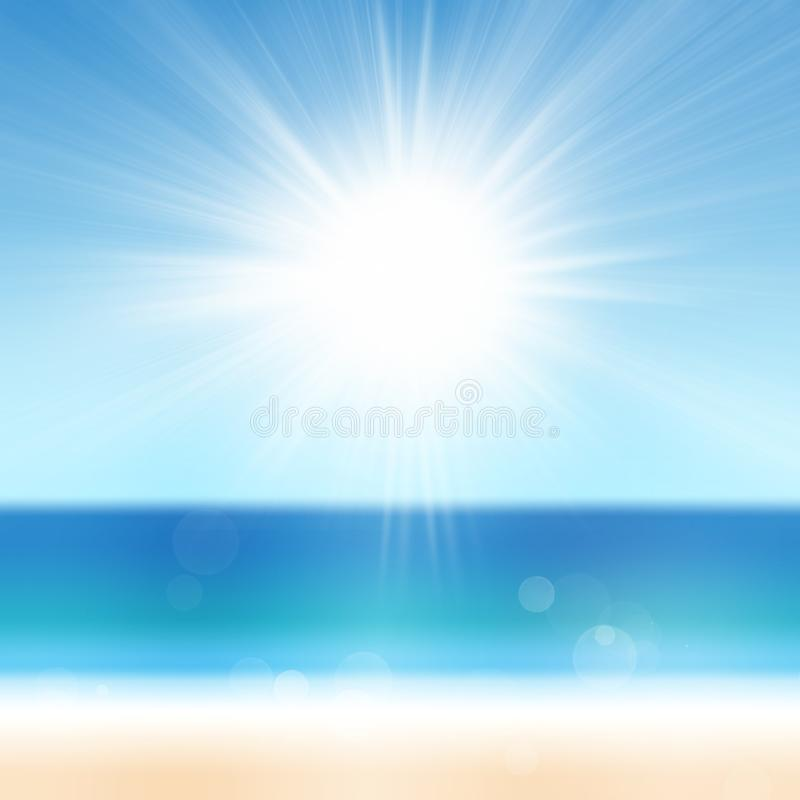 Summer Holiday Background with Sand Beach Ocean Sea Sun Blue Water and Sky. Summer Holiday Background with Sand Beach Tropical Ocean Sea Sun Blue Water and Sky stock image