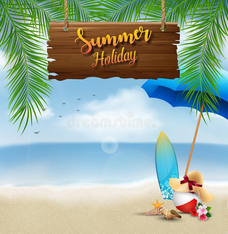 Summer holiday background with a wooden sign for text and beach elements stock illustration