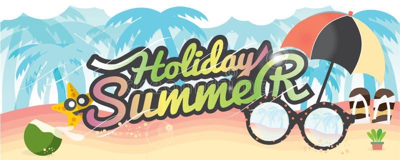 Summer Holiday Banner Summer Vacation Concept. stock illustration