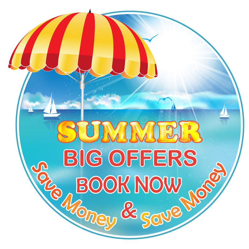 Summer Holiday - Book now and Save Money stock illustration