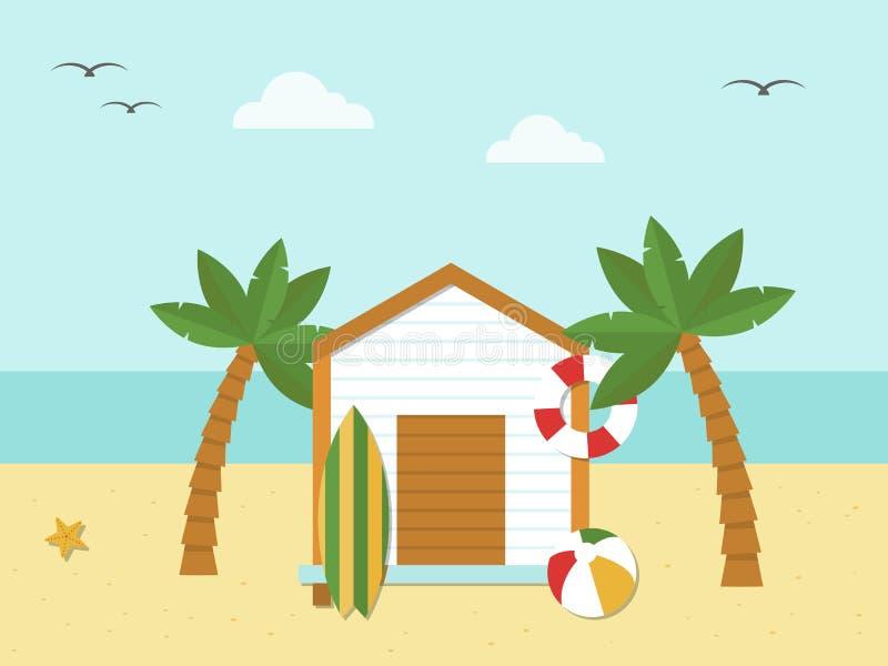 Summer Holiday, Bungalow on the beach vector. Illustration stock illustration
