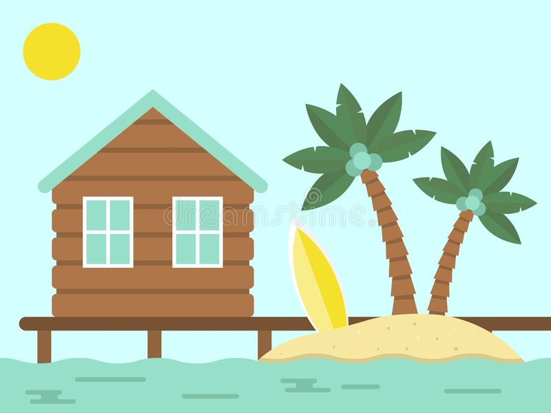 Summer Holiday, Bungalow and Island with sea. Vector illustration royalty free illustration
