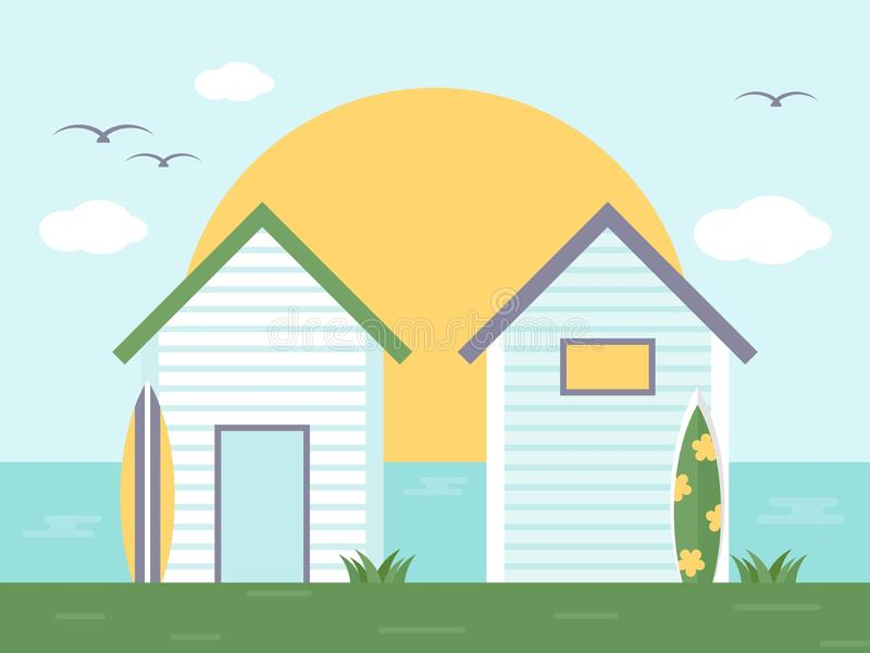 Summer Holiday, Bungalow with side sea view. Vector illustration stock illustration
