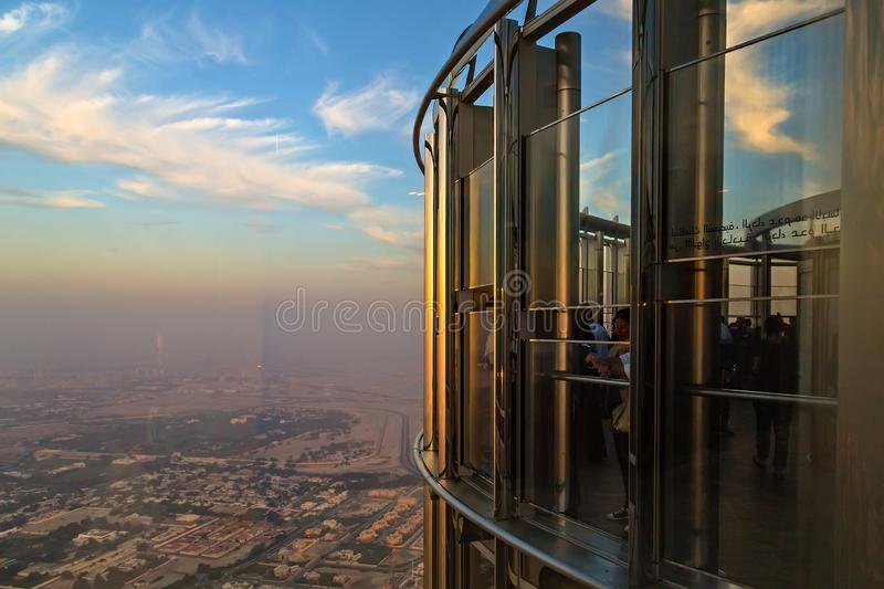 Summer holiday Burj Khalifa-View from Top attraction tour of Downtown Dubai royalty free stock photos