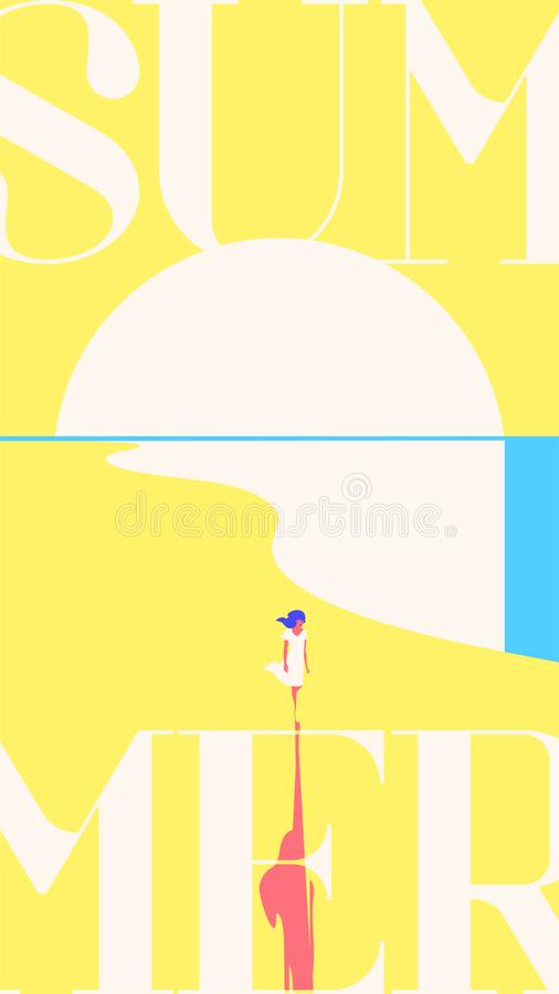 Summer Holiday and Summer Camp stories template. Sea sunset, girl walking on beach. Yellow background. stock illustration