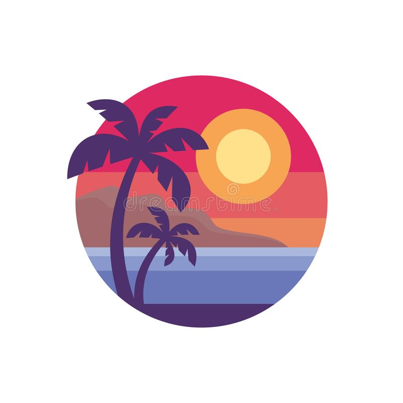 Free Summer Holiday - Concept Business Logo Vector Illustration In Flat Style. Tropical Paradise Creative Badge. Palms, Island, Beach, Stock Photo - 141523760