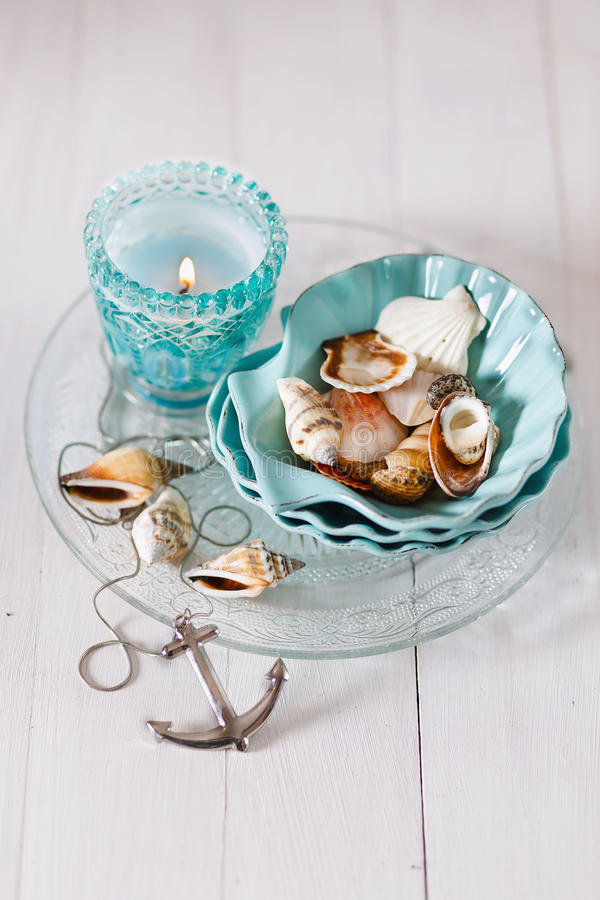 Summer holiday concept. With nautical items over white wooden background. Soft focus, shallow DoF stock photography
