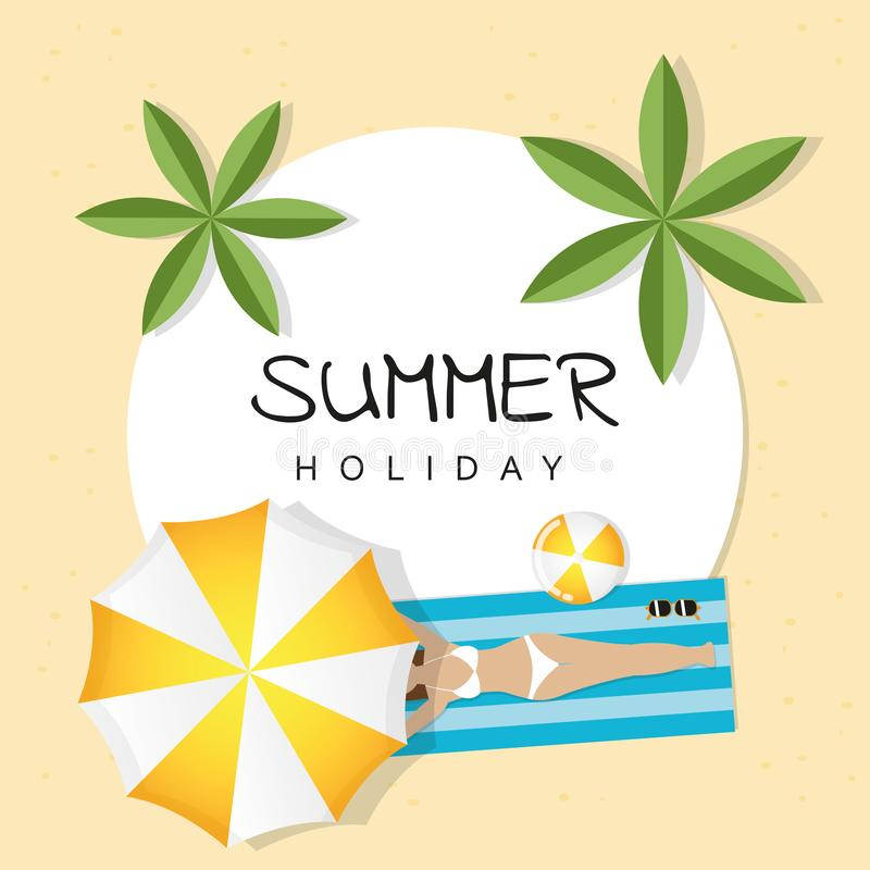 Summer holiday design girl is lying on the beach under an umbrella and palm tree stock illustration
