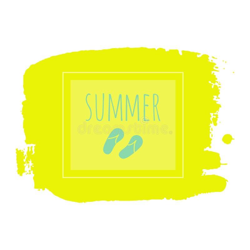 Summer holiday frame vector. Flip flops illustration on yellow hand drawn background vector illustration