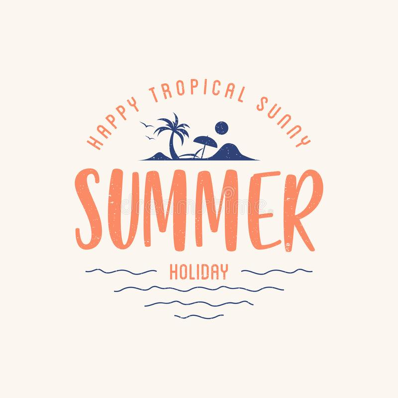Summer holiday letter with silhouette tropical landscape vector illustration