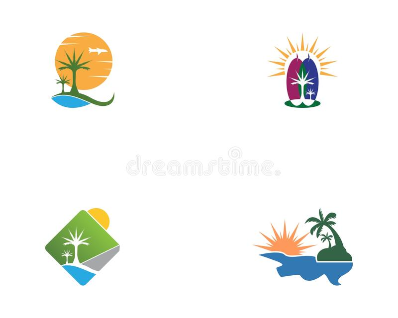 Summer Holiday With Palm Tree And Parasol On The Beach.  vector illustration