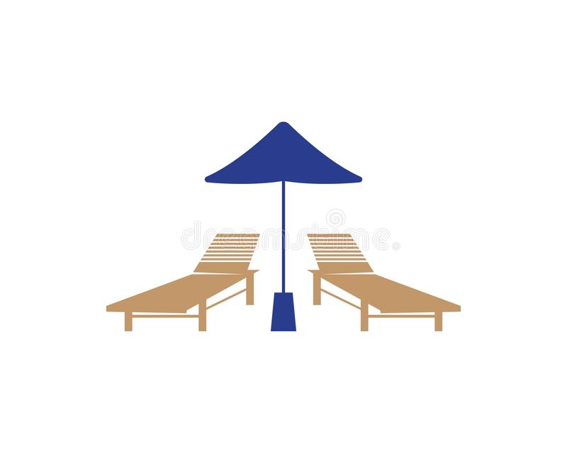Summer Holiday With Parasol On The Beach stock illustration